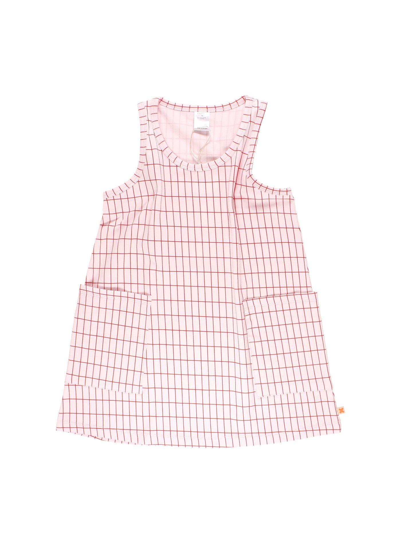 27dbb1747 Vestido sin mangas, de escote redondo y bolsillos cuadrados, para niña; de  tinycottons