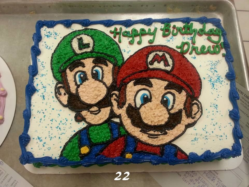 Buttercream Super Mario Brothers Birthday Cake Mario Bros