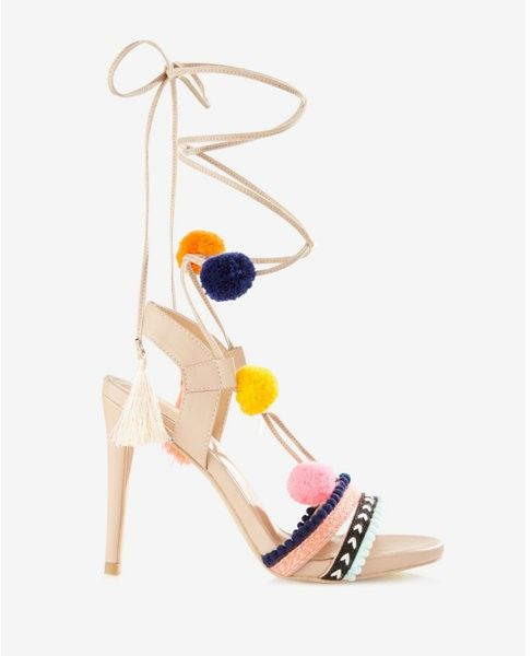 Pom And Tassel Lace Up Heeled Sandals Shopping Shoes Heels Fashion