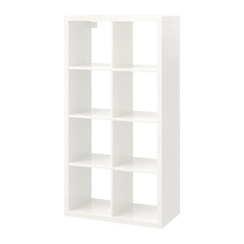 Ikea Kallax High Gloss White Shelf Unit