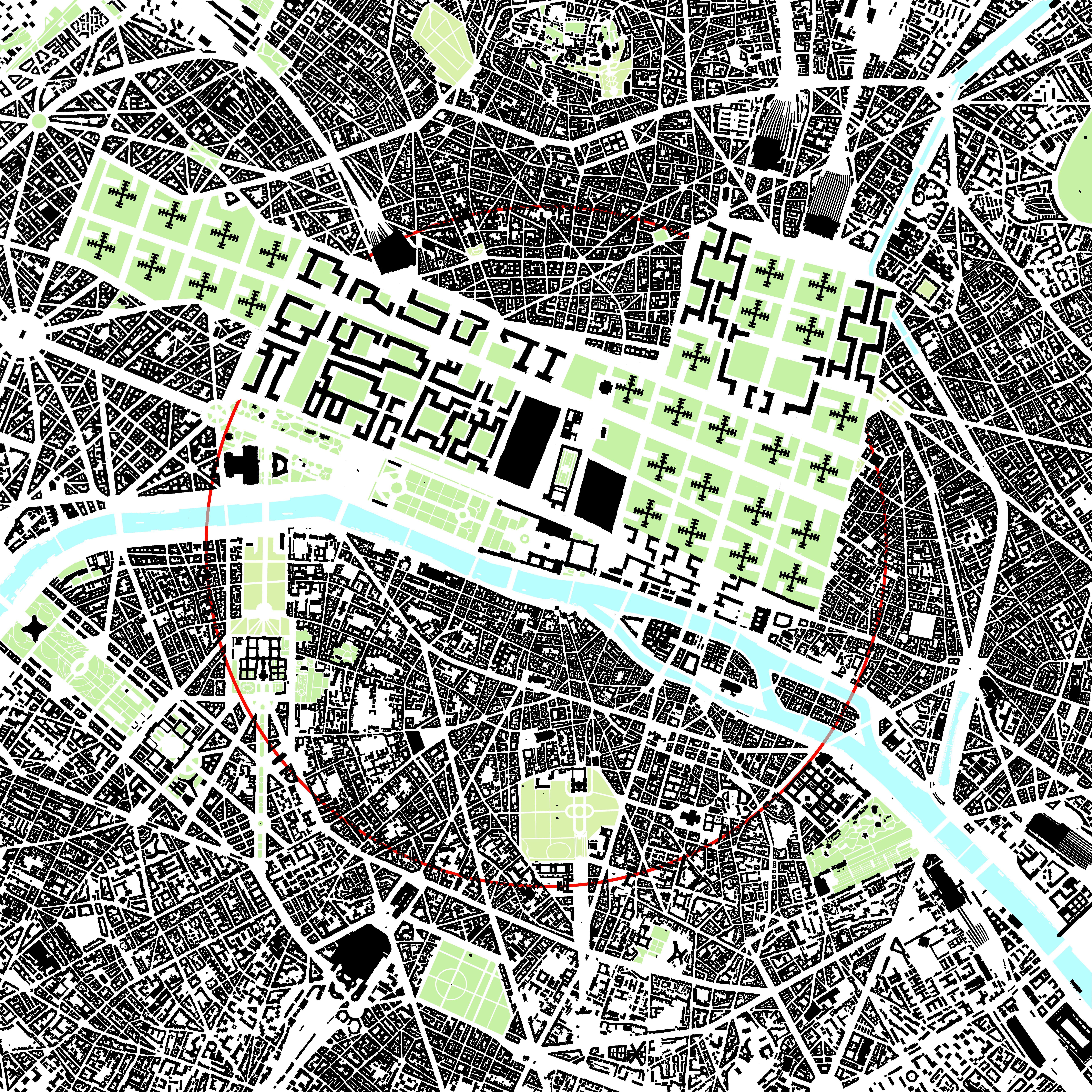 Figure ground map of Le Corbusier s urban plan for Paris 1920 s