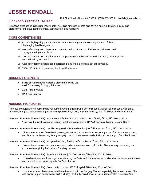 Free Lpn Licensed Practical Nurse Resume Example Nursing