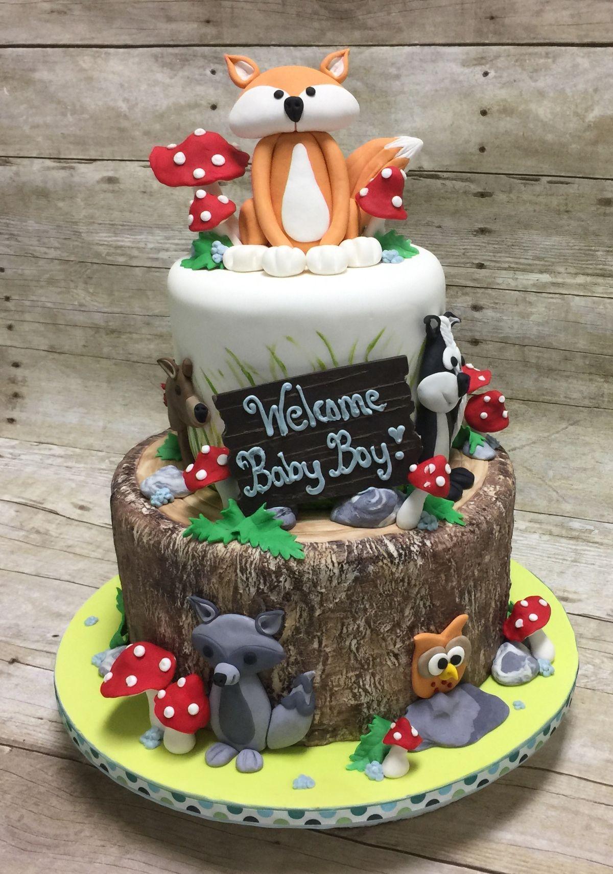 Themes Baby Shower Woodland Animals Baby Shower Cakes Plus Woodland