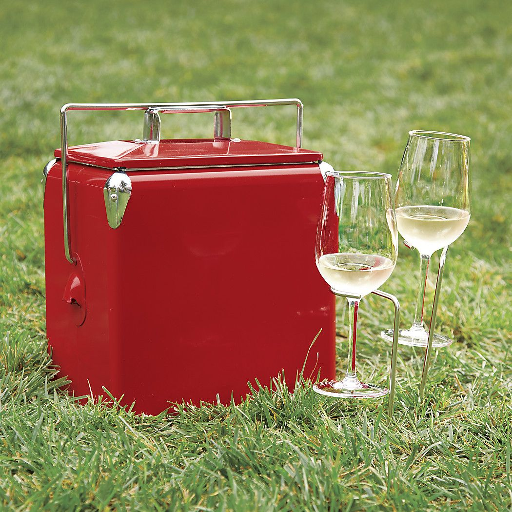 Shop Steady Stick Wine Glass Holders Set Of Two A Glass Of Wine A Breath Of Fresh Air Enjoy Your Wine In Th Crate And Barrel Picnic Cooler Wine Glass Holder