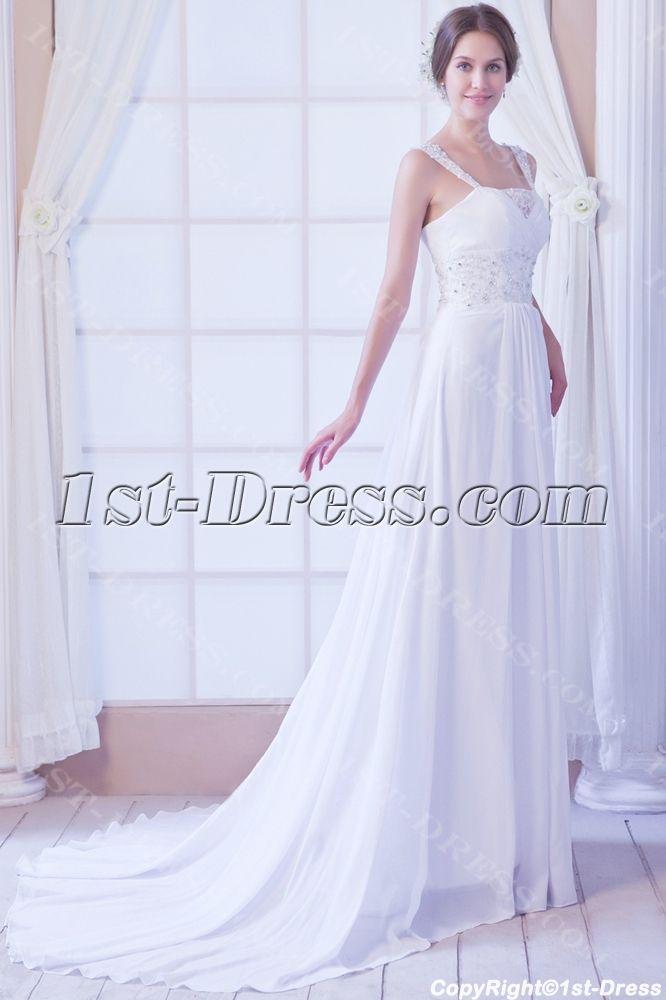Sweet Chiffon Fall Wedding Dress Beach1st