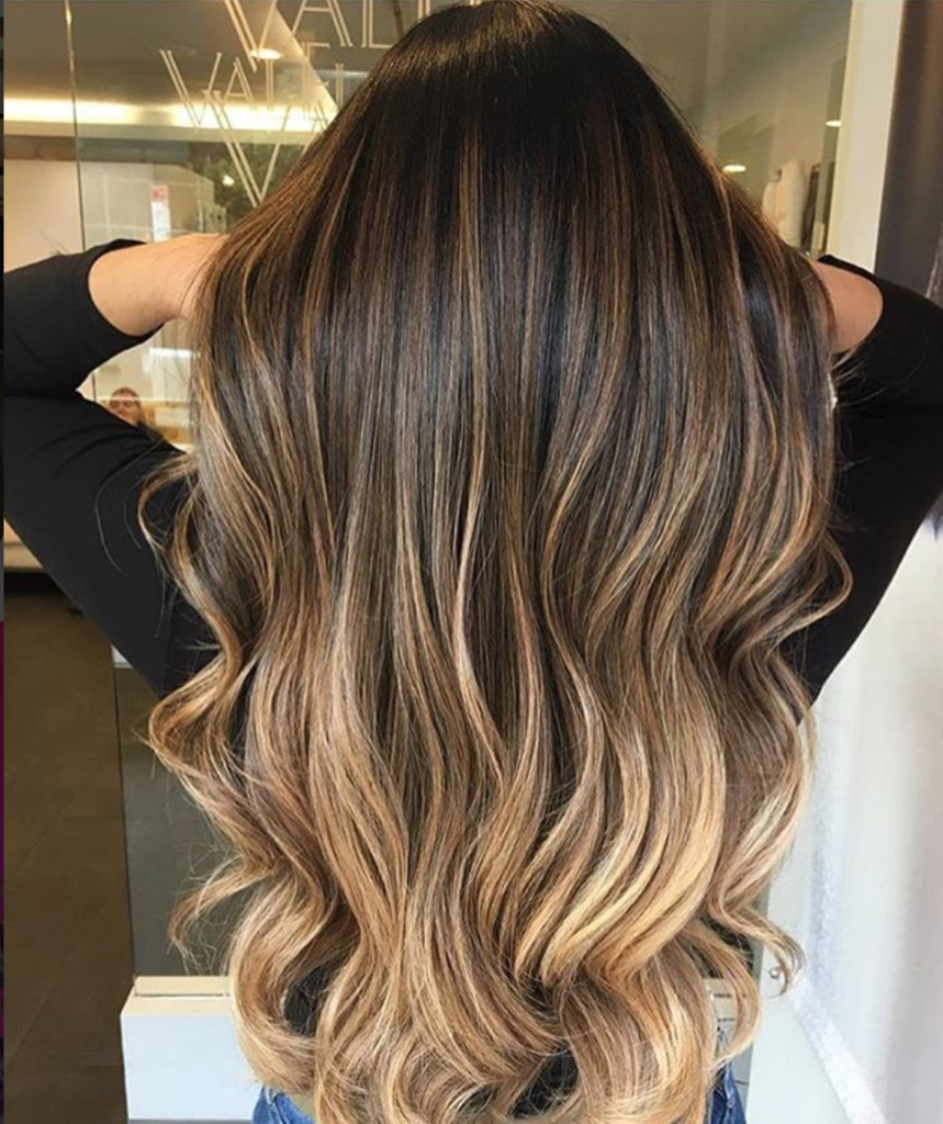 Chocolate golden ombre tape in ombre hair extensions and