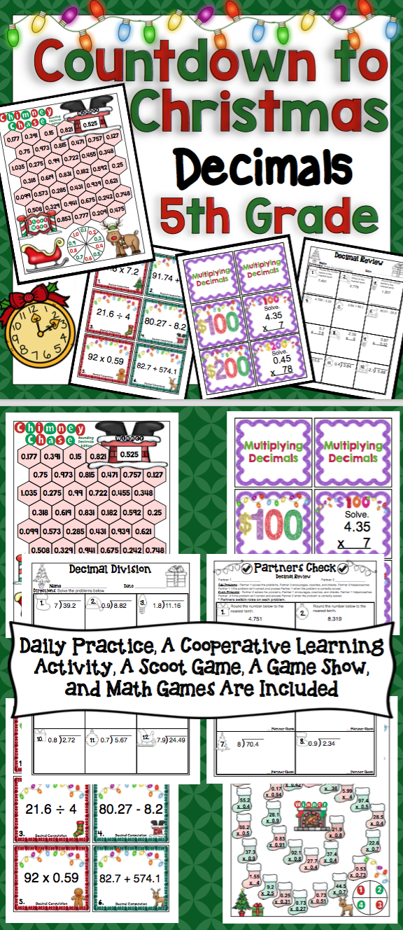 Countdown to Christmas Math - 5th Grade Decimals - Keep your ...