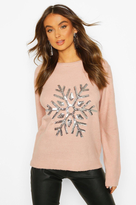 Snowflake Christmas Sweater boohoo in Christmas