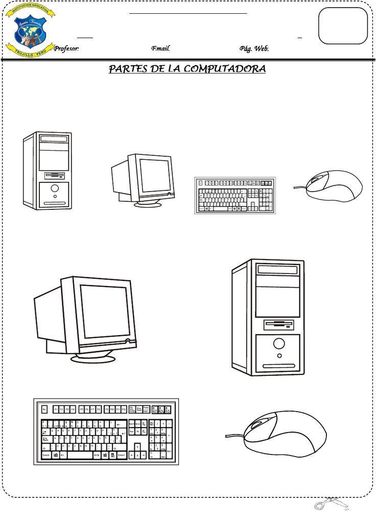 Conoce y colorea las partes del computador | TECNOLOGIA | Pinterest