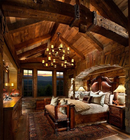 55 Best Home Decor Ideas: Great Northern Lodge Rustic Timber Frame And Stone Bedroom