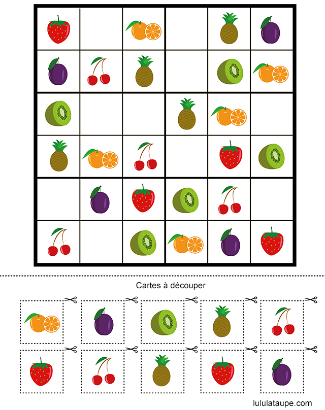 sudoku fruits l gumes fleurs maternelle et cp ce1 pinterest sudoku fruit legume et fruit. Black Bedroom Furniture Sets. Home Design Ideas