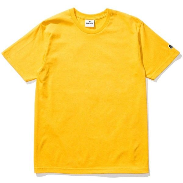 ce0f03b31b9 UNDEFEATED FELT PATCH STRIKE TEE ($28) ❤ liked on Polyvore featuring tops, t-shirts,  patch t shirt, yellow top, yellow t shirt and yellow tee