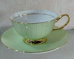 Green And Gold Tea Cup And Saucer I Love This Color