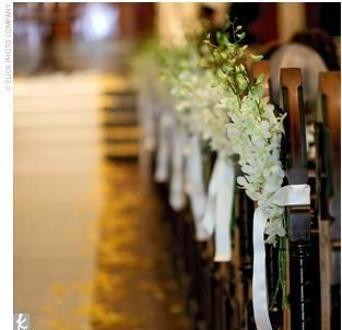 Orchid pew church pews pinterest wedding pew decorations white orchid for pew decor centerpieces at reception like the ribbon could junglespirit Image collections