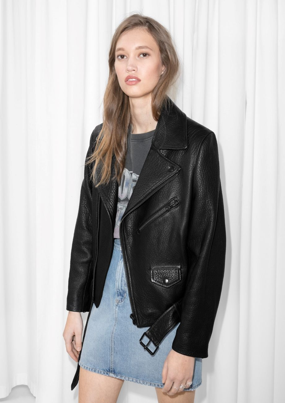 45809104c9ee & Other Stories image 1 of Leather Motorcycle Jacket in Black ...