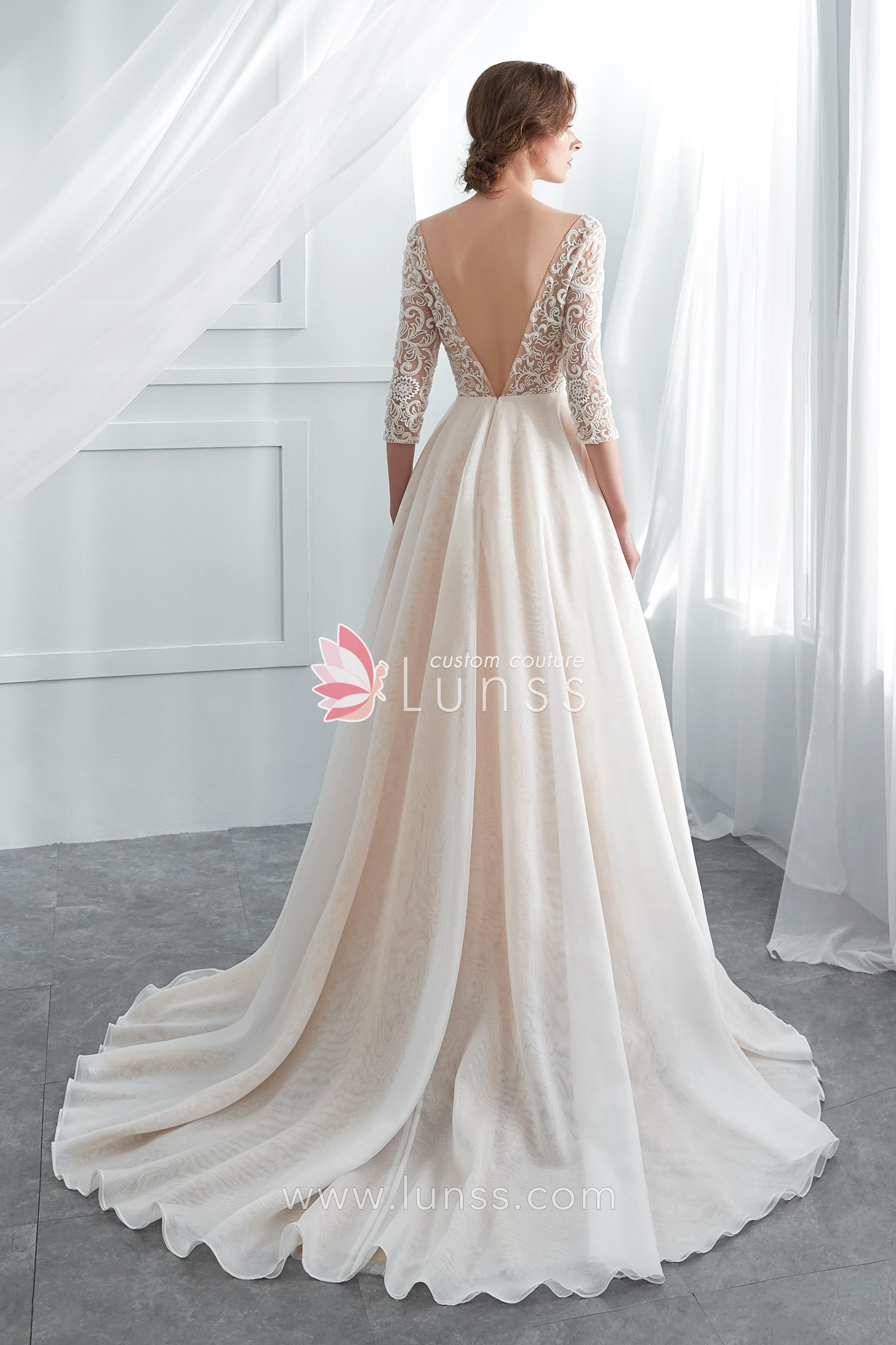 Champagne Beaded Lace Organza Wedding Gown with 34 Sleeve  b59d8d0db
