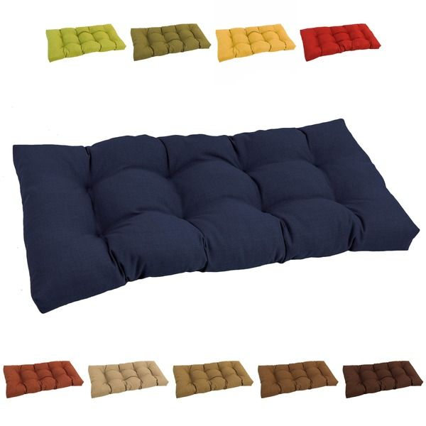 Blazing Needles Solid Tufted All Weather Outdoor Loveseat Bench Cushion  (Cocoa (REO SOL 10)), Brown (Acrylic), Outdoor Cushion