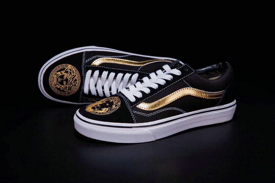 Versace X Vans Classic Old Skool Black Gold White Zw04 Shoe Vans For Sale Vans Vans Classic Old Skool Vans Vans Classic