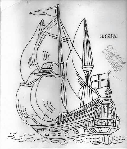 Filografi Için Uygun çizim Pirate Ship Gemi Yelkenli Savaş Gemisi
