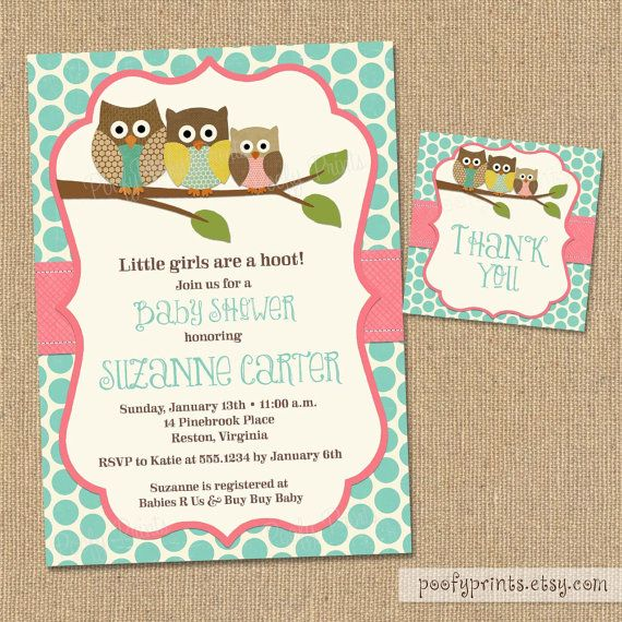 Vintage Owl Baby Shower Invitations: Owl Baby Girl Shower Invitations