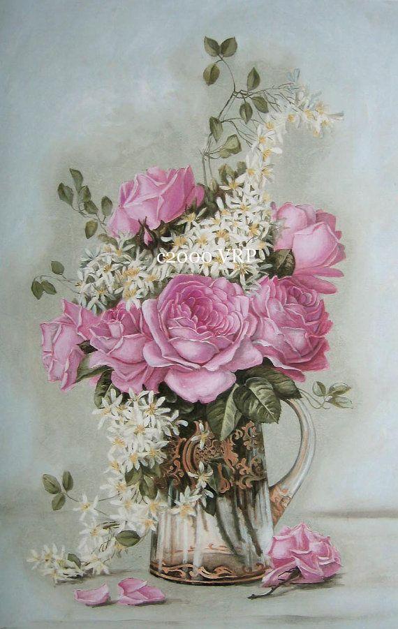 PRINT FREE Ship Paris Pink Cottage Roses by VictorianRosePrints