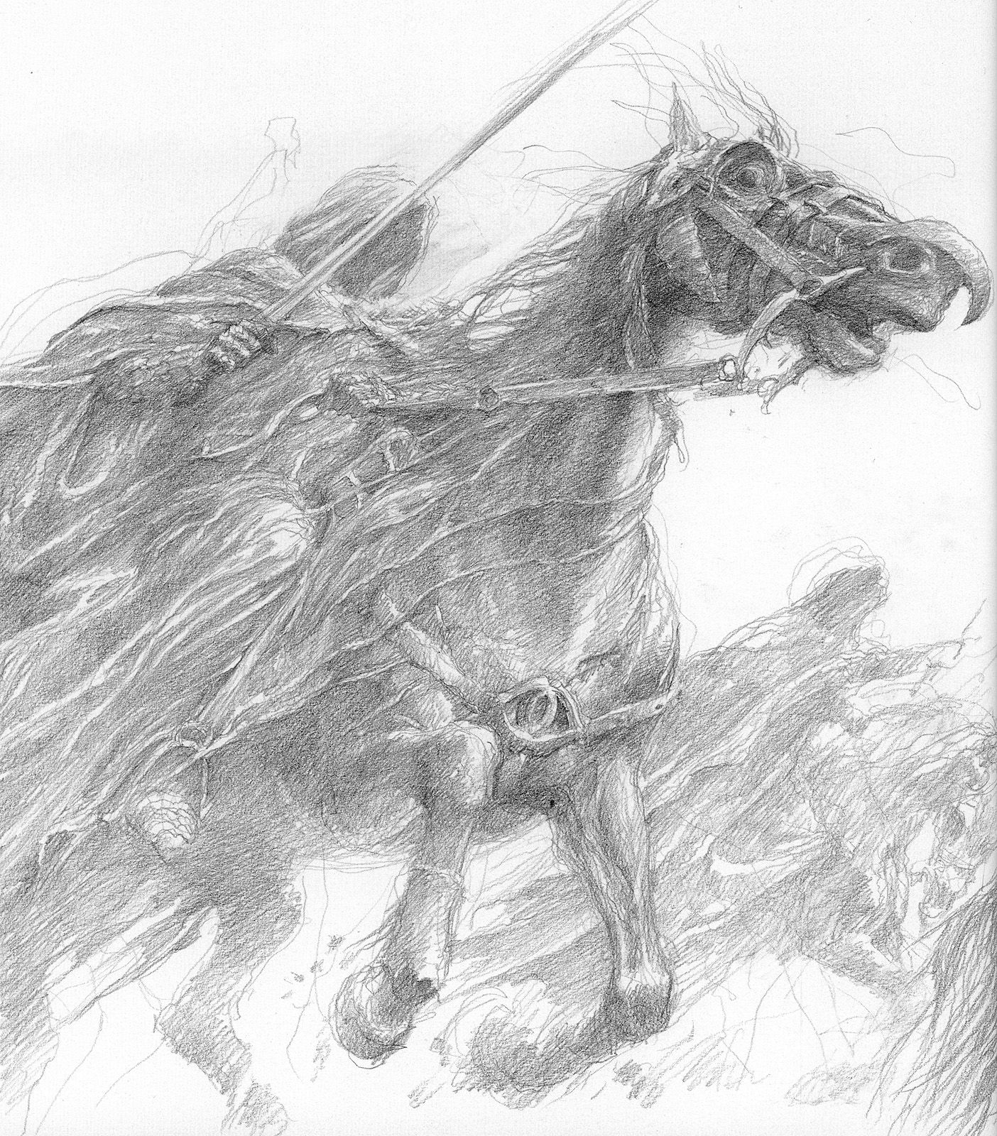 Lord Of The Rings Nazgul Concept Art By Mike Ploog: Alan_lee_the Lord Of The Rings_sketchbook_03_nazguls03.jpg