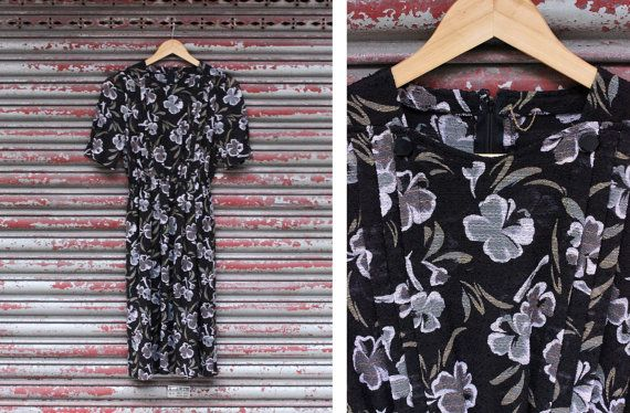 Vintage 40s Style Black Floral Printed Dress by vicandlily on Etsy, $24.00