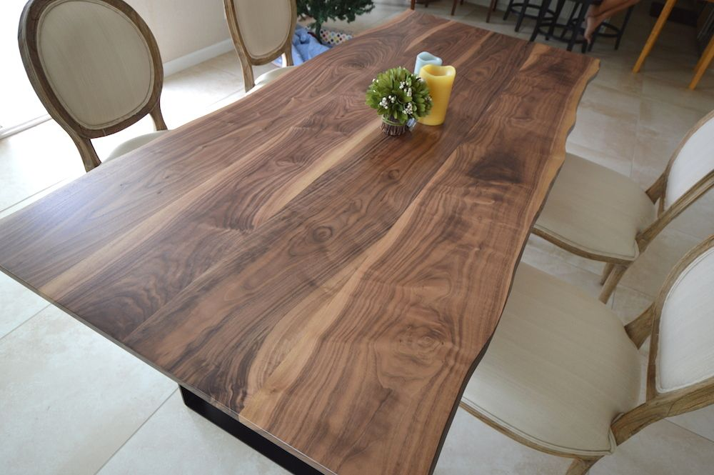 Dining Room Walnut Table With Black Metal Legs