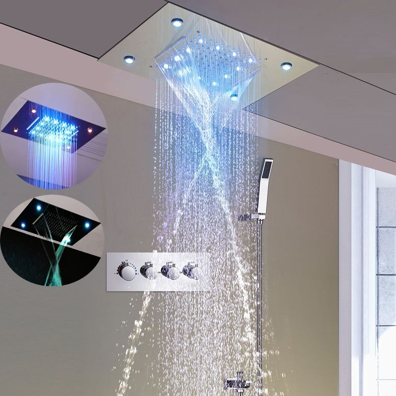 3 Way Faucets Spa Rain And Waterfall Shower Head Set Ceiling Concealed Tap Large Led Light Automatic Change Thermost Waterfall Shower Led Lights Ceiling Lights