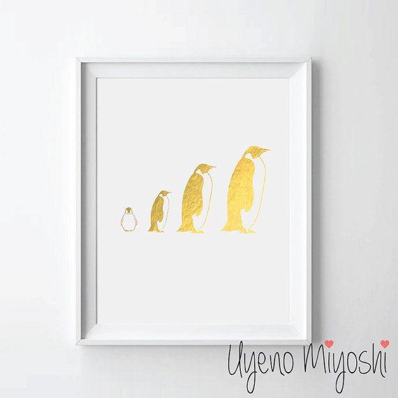 Gold penguin family