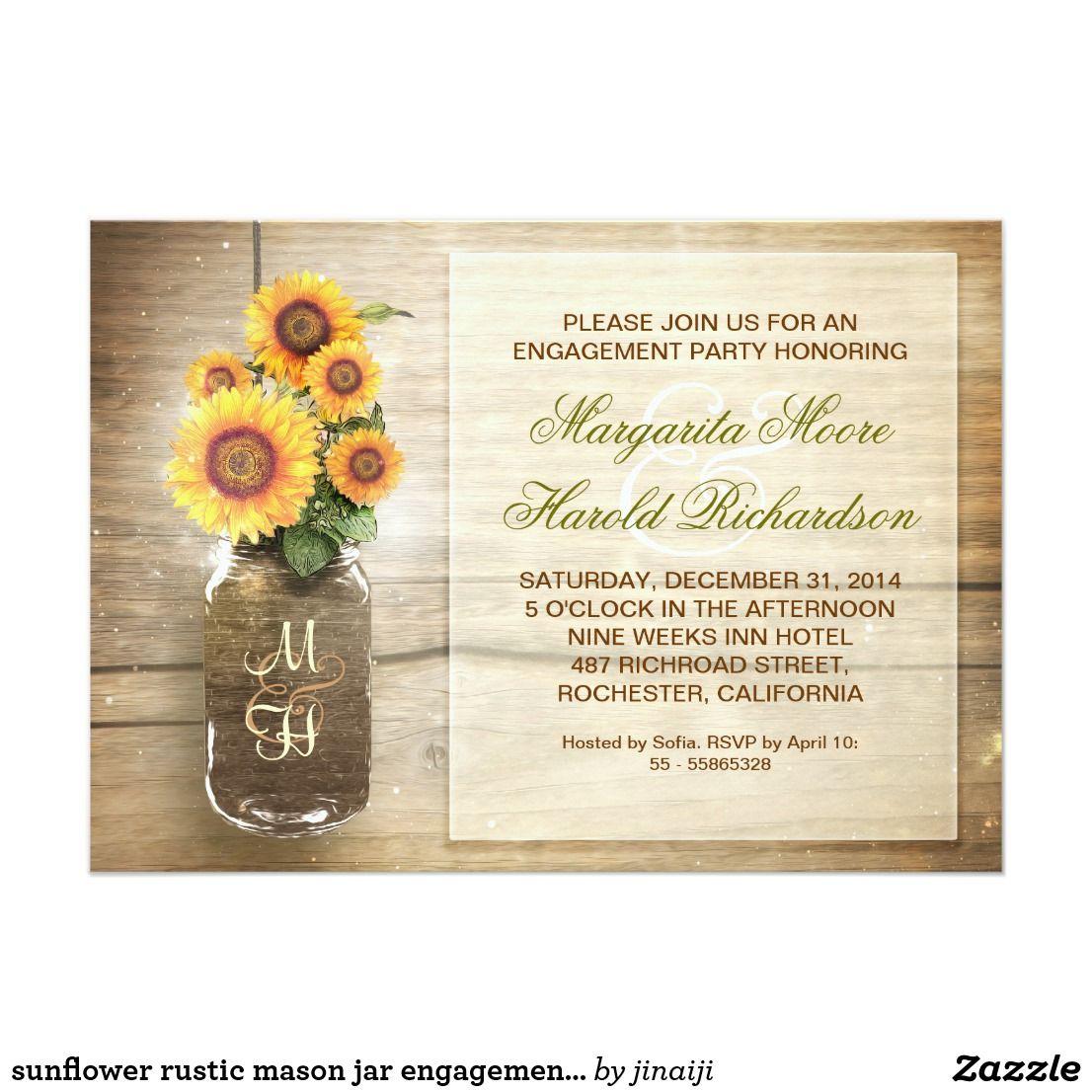 sunflower rustic mason jar engagement party invite beautiful rustic ...