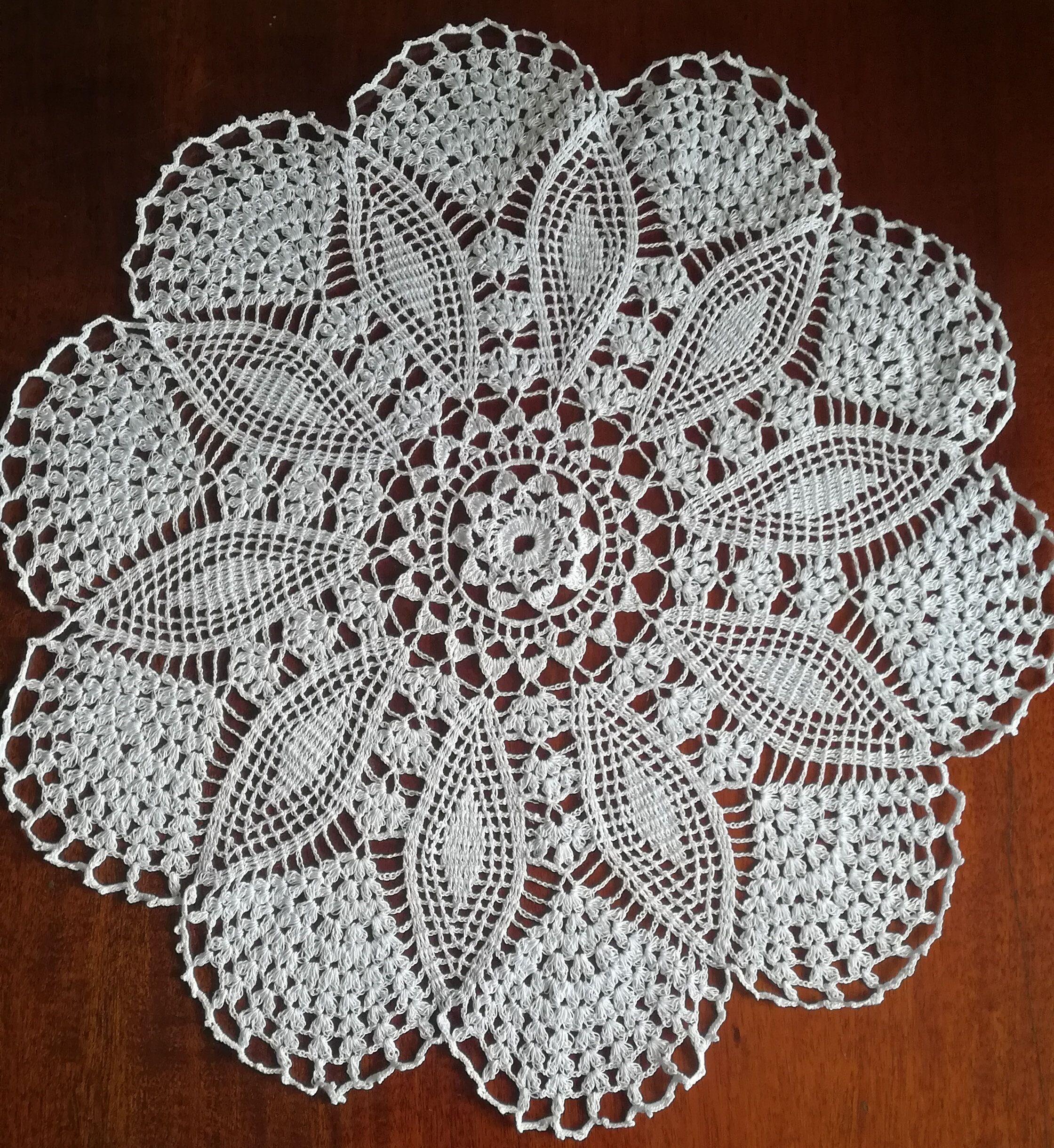 Crochet Doily Lace Fan Edging Table Topper Mercerized Cotton