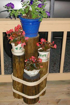Flower Pot Stand Made From Fence Post And Rope