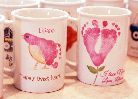 Any 2 mugs. Hand and Footprint Art made from your childs actual prints! _412_mug
