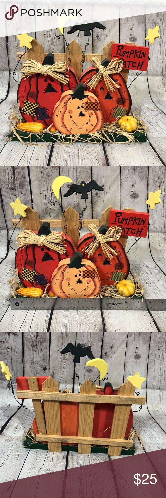 "Pumpkin Patch Scene Pumpkin Patch Scene. 11.5"" x 10.5"". 3 wood pumpkins, crows, moon, stars. Raffia straw, plastic pumpkin and corn. Holiday Holiday Decor #pumpkinpatchoutfit"