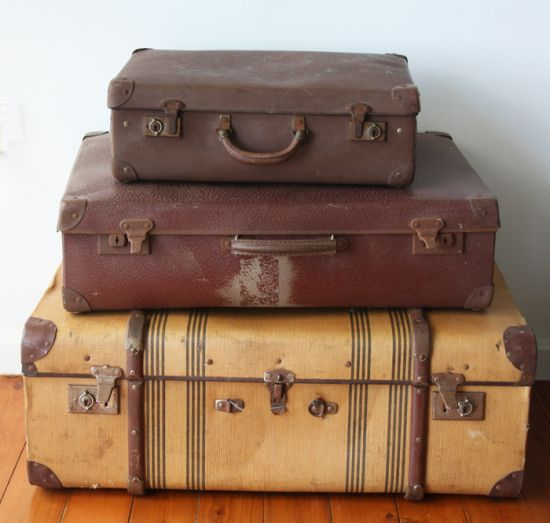 3 Large Suitcases Stacked On Top Of Armoire Remove Clock Vintage Luggage Vintage Suitcases Old Suitcases