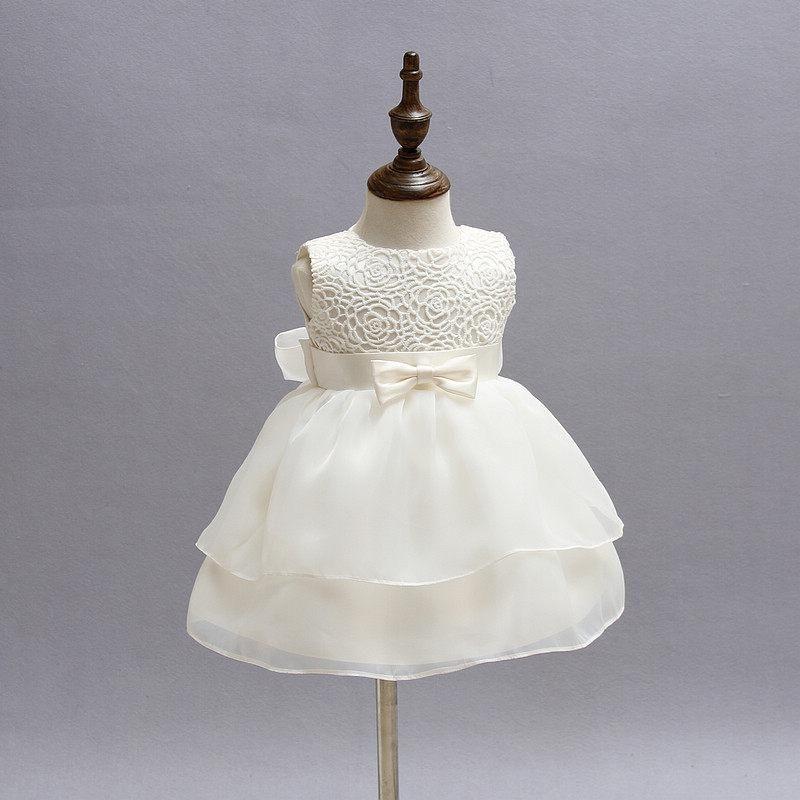 Sleeveless Solid Bow Decor Dress #babygirlpartydresses