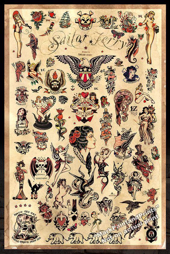 Tattoo fabric retro skull mermaid Alexander Henry nautical sailor jerry