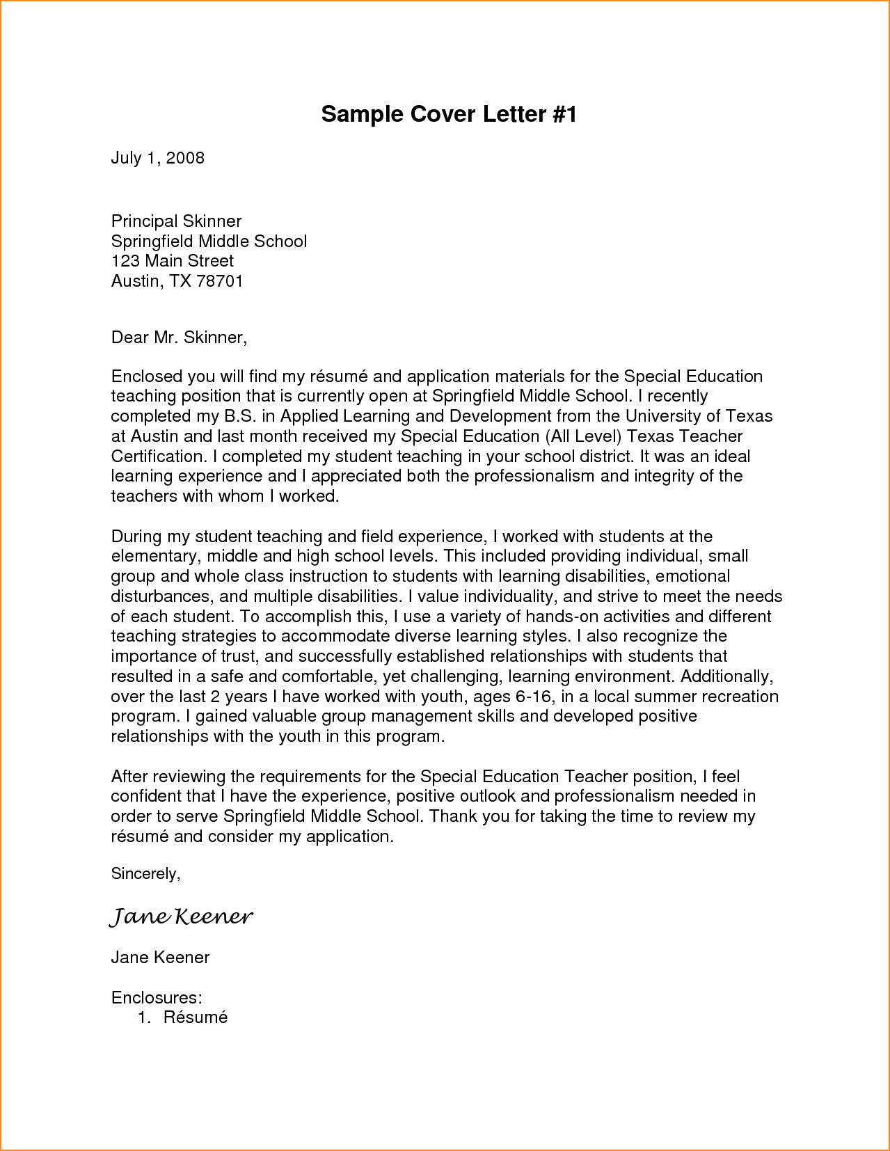 simple job application letter sample for teacher basic format