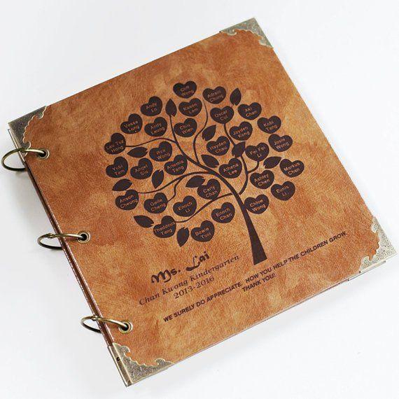 a7b052ae4c5df Personalized family Tree album/ Engraved Leather Photo Album/ Kraft ...