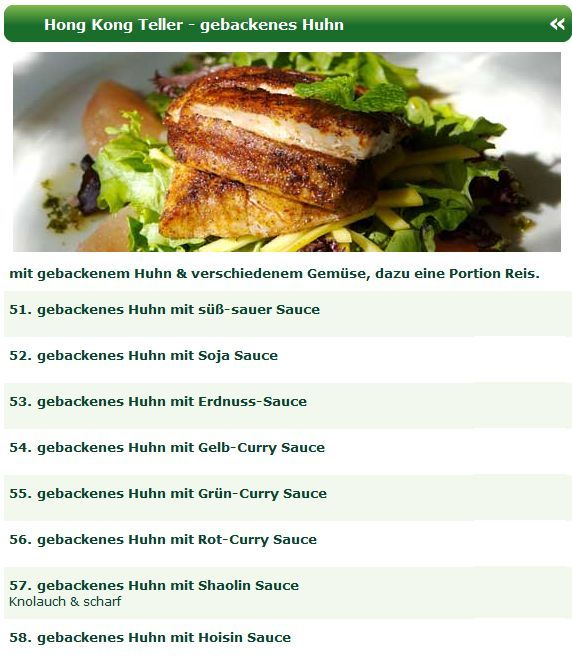 Eine der Spezialitäten der chinesischen Küche ist das gebackene Huhn ...