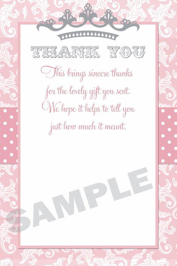 Princess Baby Shower Thank You Card Princess Thank You Card Little