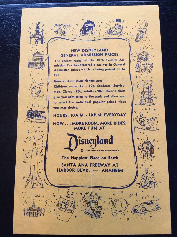 1956 Disneyland Ticket Price Decrease Announcement by VintageDisneyana on Etsy