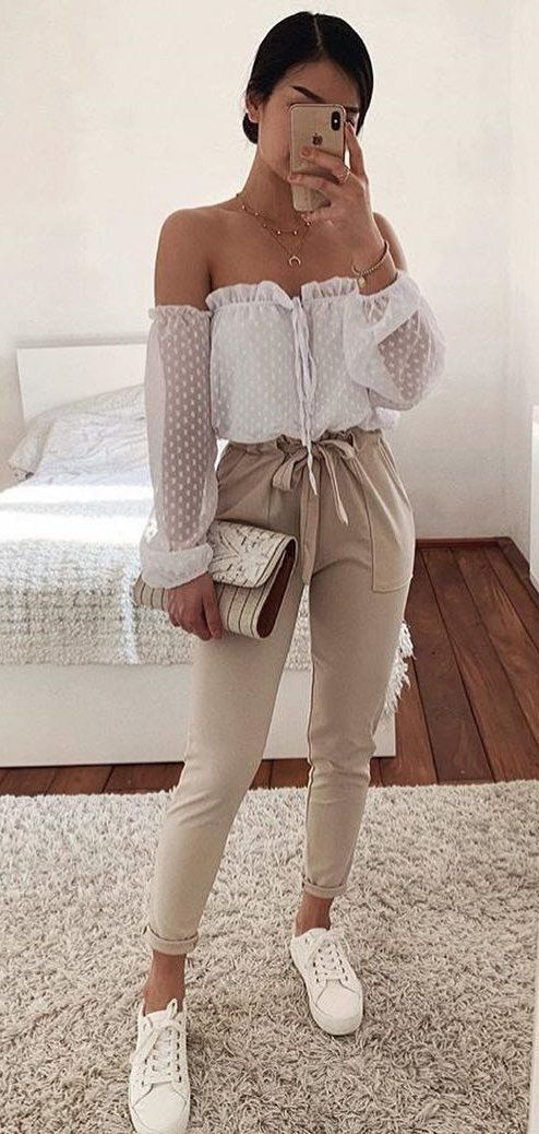 white off-shoulder blouse #summer #outfits