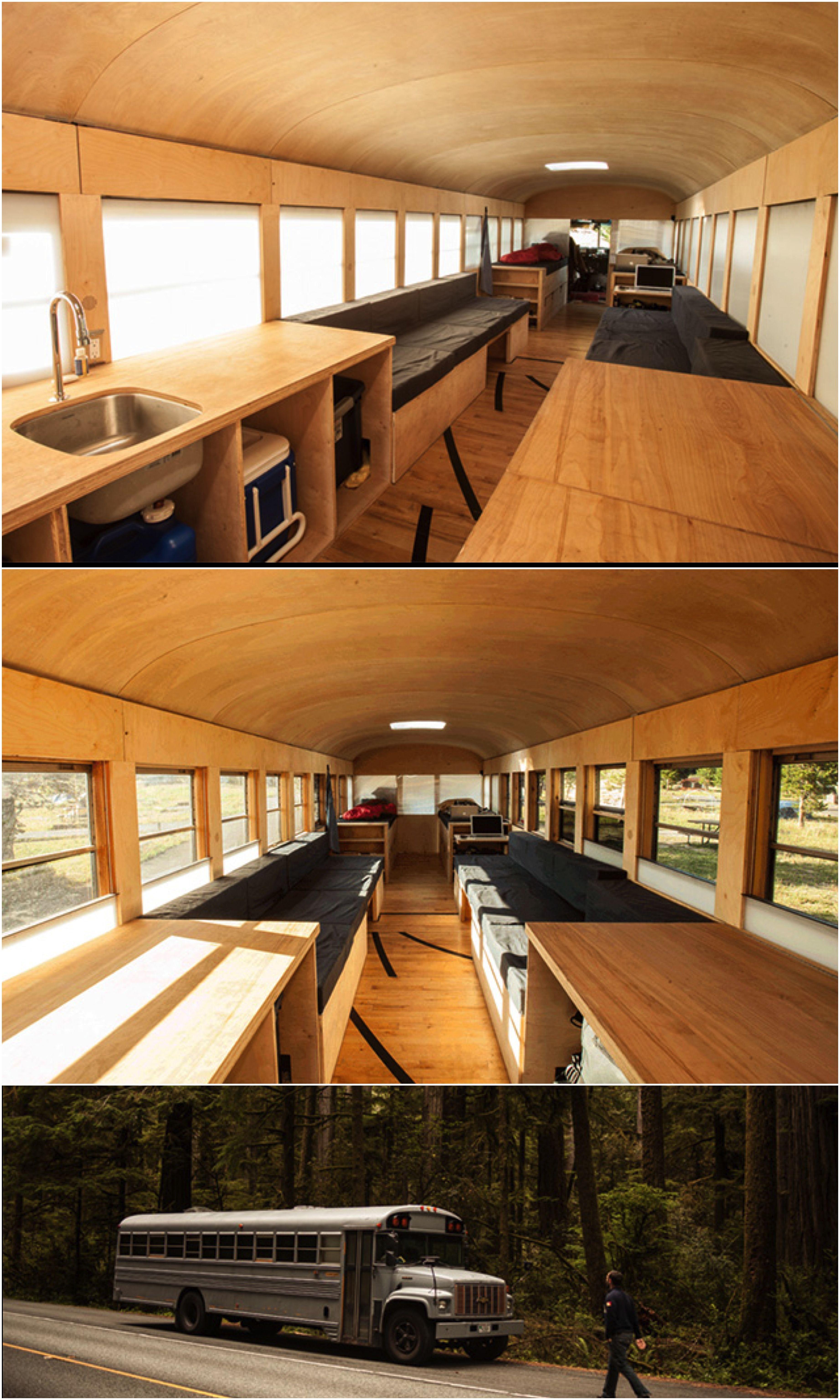Savanna Interior Diy Mini Pond: Architecture Student Converts Old Bus Into Comfy Mobile