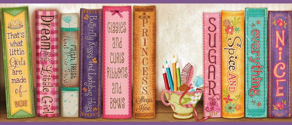 Hide & Seek Girls Room Bookshelf Wallpaper Border