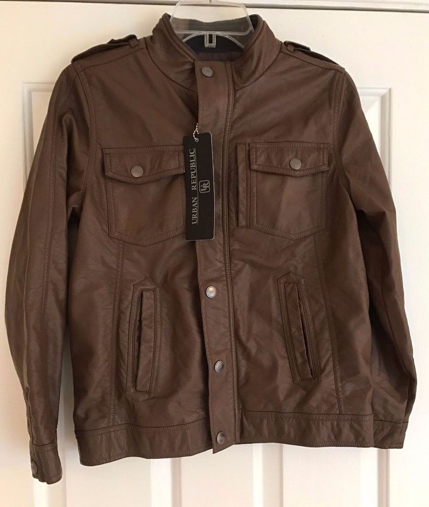 Leather jacket size 18 - Details About Urban Republic Big Boys Brown Faux Leather Bomber Jacket Size 18 20 Nwt