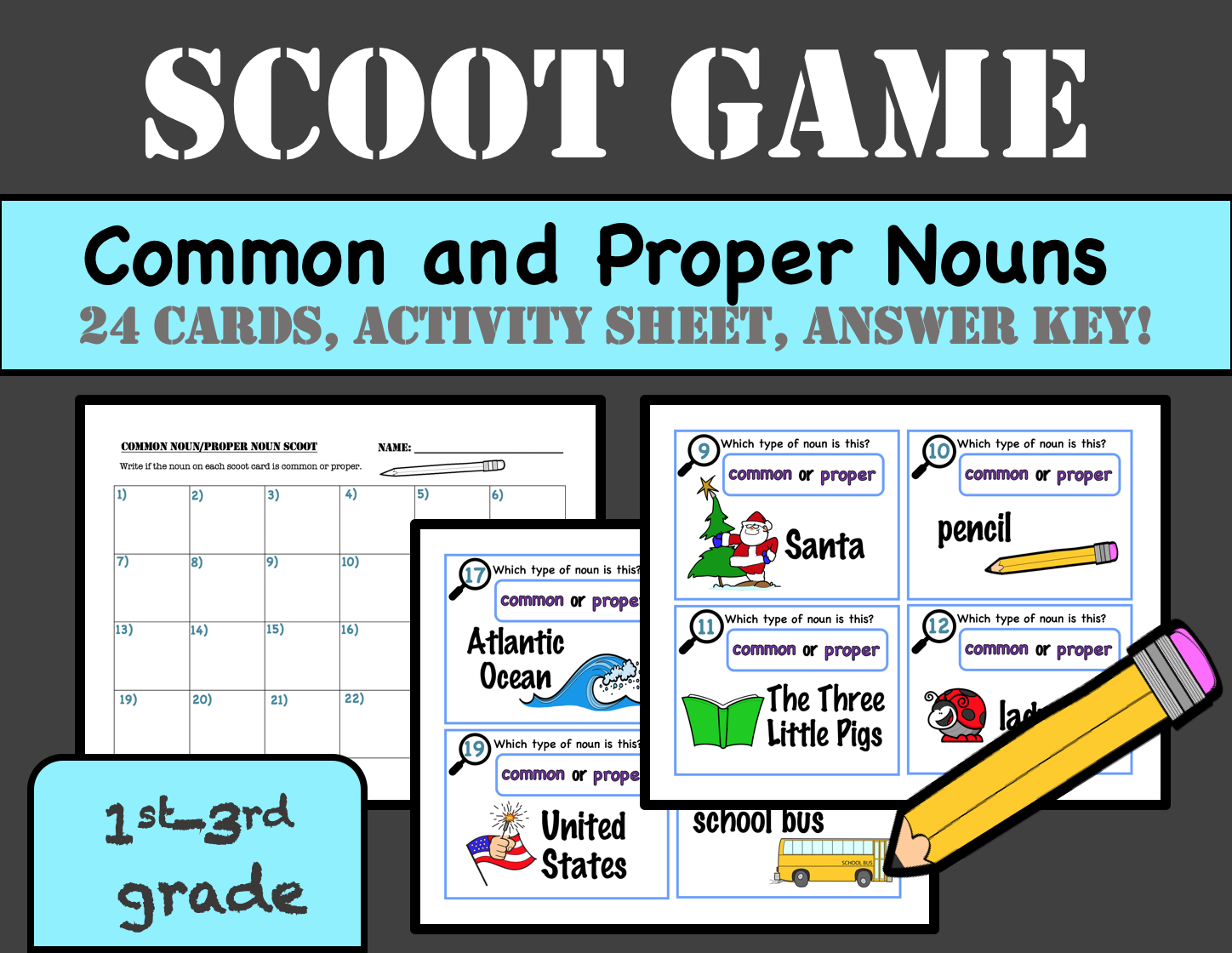 Common And Proper Nouns Scoot 24 Cards With Worksheet And