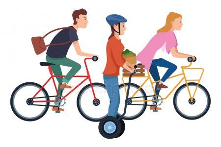 People on bikes and electric scooters  Stock Vector