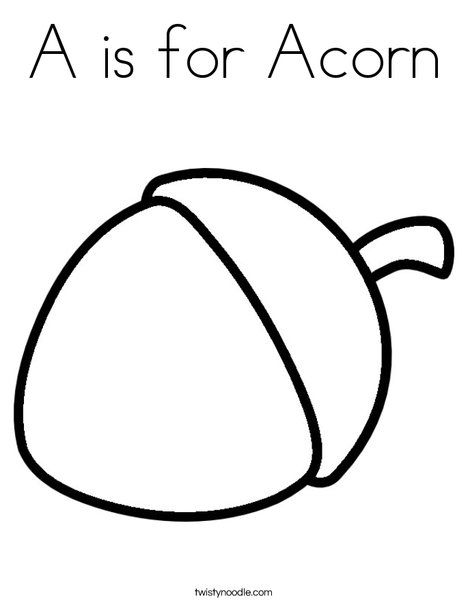 A Is For Acorn Coloring Page Coloring Pages Acorn Clip Art